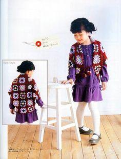 Irish crochet &: GIRLS SHRUG AVÓ QUADRADO ... Babushkin quadrados. Schrage PARA MENINAS
