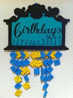 calendario de cumpleaños!  con goma eva, cartón o madera.  Material (el de goma eva): goma eva, bolígrafos de colores e hilo (para unir las fechas de cumpleaños