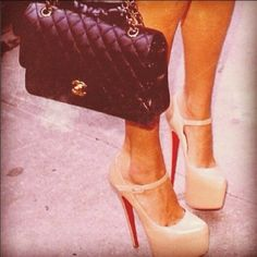 my 2 fav things in the world. Chanel lambskin bag and Christian Louboutin Daffodils.