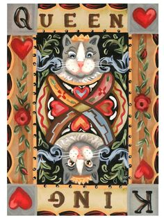 aceo original acrylic painting Valentine's Day  cats hearts whimsical folkart  #Miniature
