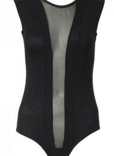 Black Sleeveless Bodysuit with Mesh Panel Insert,  Top, black bodysuit  mesh bodysuit, Urban / Streetwear