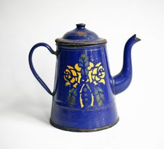 French enamel coffee pot, blue, 1940s, French kitchen decor, French enamelware, vintage french decor country kitchen cottage chic provincial