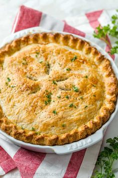 Chicken Pot Pie Recipe with a flaky crust, filled with juicy chicken and veggies in gravy. Homemade chicken pot pie is classic comfort food. #chickenpotpie #potpierecipe #chickenrecipes #natashaskitchen Turkey Recipes, Pie Recipes, Great Recipes, Chicken Recipes, Cooking Recipes, Favorite Recipes, Casserole Recipes, Chicken Meals, Yummy Recipes