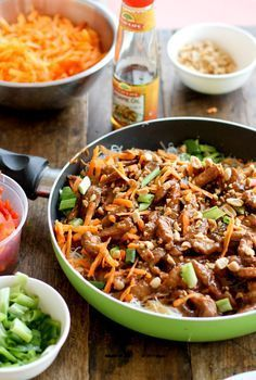 Hoison Pork with Rice Noodles - just remember to use Tamari instead of soy sauce and check your Hoisin Sauce is gluten free as well.