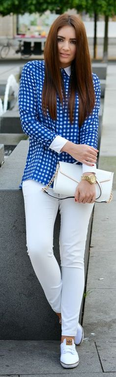 Zara Blue And White Gingham White Sleeve Cuffs and Collar Button Up Shirt by Stylish !