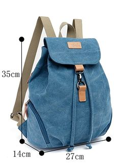 Amazon.com | Genda 2Archer Casual Canvas Backpack Bookbag Hiking Bag Satchel Shoolbag (Blue) | Casual Daypacks