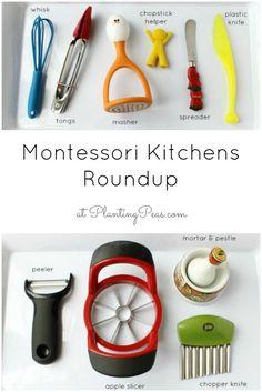 Montessori Kitchens Roundup - A whole list of Montessori Kitchen Setup links from around the blogosphere! {PlantingPeas.com}