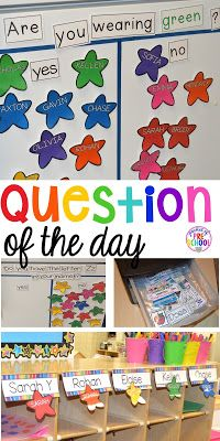 Question of the day gets students learning when they walk in the door (part of their morning routine)! Teaches many literacy and math concepts and skills.