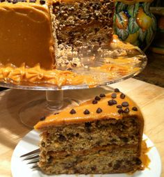 Recipe For Banana Chocolate Chip Cake With Peanut Butter Frosting - Gluten Dairy and Soy Free