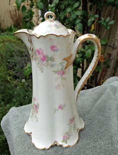 Antique Haviland Limoges Chocolate Pot  Roses And Forget Me Nots
