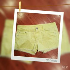 """New listing just in time for summer. Fun yellow distressed denim shorts. Shorts are in great condition. 3"""" inseam.  Material : 98% Cotton  2% Spandex American Eagle Outfitters Shorts Jean Shorts"""