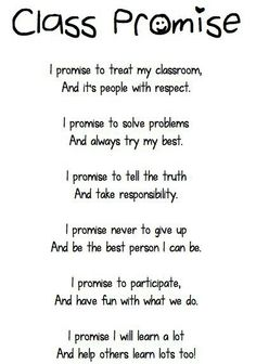 Could say every morning and talk about what the key words in the promise mean. Could come up with body and hand motions to do as it is said