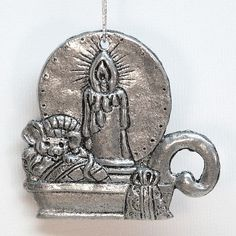 Carson pewter Christmas ornament candle and mouse 1993