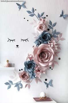 Wall Decor Paper Flowers – Paper Flowers Wall Decor – Sleepy Eyes Nursery Decor – Slate Blue Paper Flowers – Nude Paper Flowers Manualidades - The world's most private search engine Paper Flower Decor, Large Paper Flowers, Paper Flower Backdrop, Flower Wall Decor, Diy Flowers, Flower Decorations, Paper Flowers Wall Decor, Crepe Paper Flowers, Paper Roses