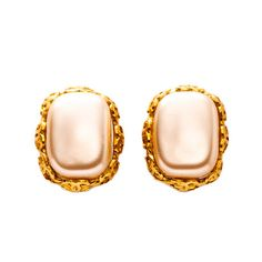 #Chanel gold tone clip-on #earrings. Available at lxrco.com for $299