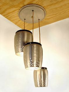 DIY inspiration: Vintage kitchen canisters repurposed as pendant lights. (made by Rodney Trice of T., featured previously here) This is a great addition to the Unconsumption gallery of items made into lighting. Kitchen Pendant Lighting, Pendant Light Fixtures, Ceiling Fixtures, Pendant Lights, Jar Chandelier, Pendant Lamps, Chandeliers, Pendants, Funky Lamps