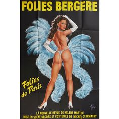 """1977 French Cabaret """"Folies Bergère"""" Poster II Original Vintage Poster (1,950 CNY) ❤ liked on Polyvore featuring home, home decor, wall art, paris wall art, signed posters, paper wall art, music themed wall art and paris poster"""