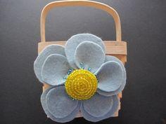 Wedding Flower Girl Basket Blue Yellow by ArtisanFeltStudio on Etsy