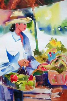Open Air Market, painting by artist Kay Smith