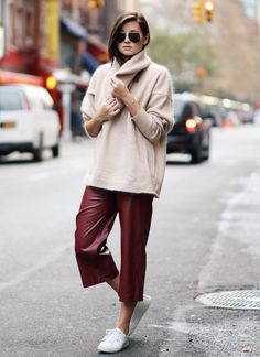sweater-with-leather-culottes-and-sneakers