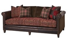 Cayenne Salsa Western Sofa Western Sofas and Loveseats - Single cushion sofa in a spicy mix of colors and prints. Rich brown leather accent, decorative pillows and nail head trim.