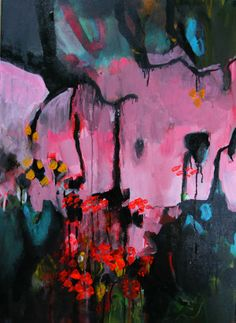 'The growing season'. Acrylic and Indian ink on canvas. 2014. Pauline Agnew