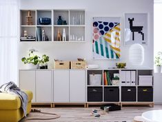 Check it out! Home Living Room, Living Room Designs, Living Room Decor, Ikea Office Storage, Couch Storage, Storage Organization, Storage Ideas, Ikea Wall Cabinets, Trofast Ikea