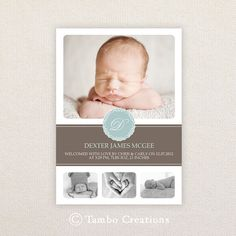 Boys Photo Birth Announcement. I Customize, You Print. on Etsy, $18.09 CAD