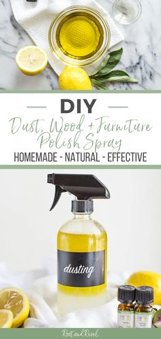 Are you looking to replace all the harsh chemicals in your daily cleaning routine with safer and all natural options? Take the first step with this DIY Homemade Dust, Wood, and Furniture Polish! This recipe is easy to make and the perfect solution to keeping all the wood in your home looking great! Check out this and more DIY All Natural Cleaning recipes at Root + Revel!