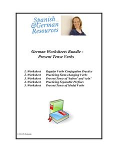 This bundle includes 5 separate worksheets on the german present tense ...