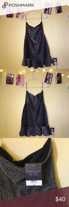 Glittery tinsel pephem TOPSHOP PETITE mini dress Mini dress from Topshop. Strapless with sweetheart neckline. Super glittery and perfect for a special occasion. Never worn (just never had the occasion 😢). New with tags. Original size and price indicated on tag. Topshop PETITE Dresses Prom