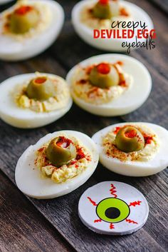 This tasty appetizer is commonly known, but my version is spooky for Halloween. Deviled eggs made to look like blood shot eyeballs!