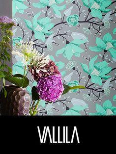 Verhot - Vallilan verkkokauppa Interior Design Tips, Clematis, Wall Wallpaper, Beautiful Homes, Wall Decor, Wall Papers, Floral, Fabrics, Heaven