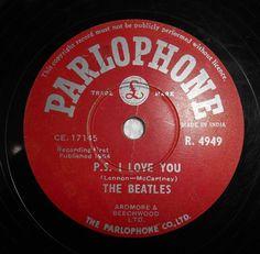 Unique Beatles 78 RPM Record R4949 Parlophone Label LOVE ME DO Pressed in India