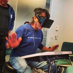 "The #Oculus #Rift : So Elegant and Understated @ruhanirabin #gadget #tech #wearable #interactive #glasses #lynnfriedman @Lynn Friedman    Mickey Hart using the oculus rift at UCSF, photographed by Christopher Michel  ""cc"""
