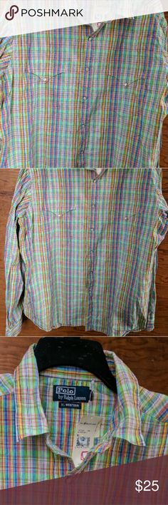Ralph Lauren Western Rainbow Dress shirt NWT XL Brand new, never worn, Ralph Lauren XL Rainbow Plaid Western mens dress shirt. Snaps on front. I absolutely love this top. Matching green pants also being listed. If I could get this to fit me, I'd be wearing it right now!!! Ralph Lauren Shirts Casual Button Down Shirts