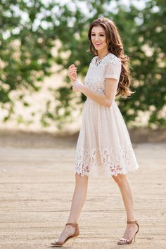 Cream Lace Dress, Lace Dresses for Women, Spring Outfit Inspiration for Women, Feminine Outfits