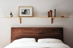 single shelf and faux wood headboard (fabric covered plywood padded with foam)
