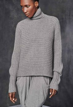 High Neck Horizontal Rib Sweater