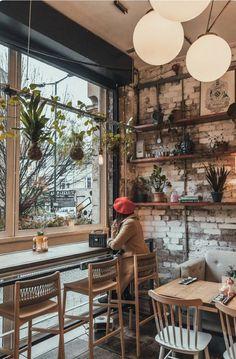 Cafe Bar, Cafe Restaurant, Bar Restaurant Design, Modern Restaurant, The Cafe, Cafe Bistro, Restaurant Ideas, Rustic Coffee Shop, Cozy Coffee Shop