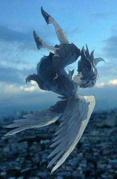 Anime girl, angel, wings, falling; Anime Girls