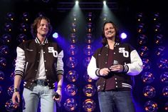 Singers Austin Brown and Tim Foust of Home Free perform at 'The SingOff' Live Tour at House of Blues Sunset Strip on March 29 2014 in West Hollywood...