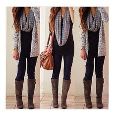 Simple for morning I don't know what to wear. Draped sweater. Scarf. Tank top. Jeans.