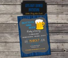 Beer & Diaper Party Invitation, Men's Baby Shower Invite, Dad-to-Be, Baby BBQ Beer Diapers, Printable Digital by Little Party that Could by LittlePartythatCould on Etsy