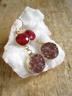 Druzy Earrings Drusy Quartz Ruby Round Drops Gold Vermeil Bezel Set