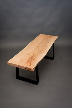 ON HOLD for local sale - Ambrosia Maple BENCH - Sturdy/Industrial/Live Edge. $552.00, via Etsy.