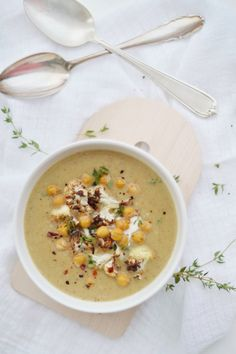fork and flower: hearty roasted cauliflower and chickpea soup.