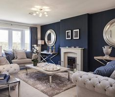 Amazing Blue Living Room Design Ideas – My World Blue Living Room Decor, Living Room Accents, Living Room Color Schemes, New Living Room, Navy Blue And Grey Living Room, Living Room Designs, Blue Rooms, Living Room Inspiration, Apartment Living