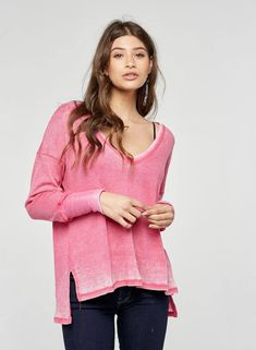 Sawyer Burnout Pink Thermal by Project Social T - OneHipMom.com