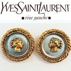 e1f361fd6d4 YSL Earrings- Yves Saint Laurent Vintage 40mm Large Grecian Classic RARE  Rive Gauche Round Poured